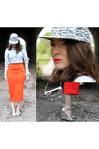 light blue denim H&M men hat - silver pointy wedges asos heels