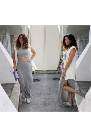 silver crop top Missguided top - silver split maxi Missguided skirt