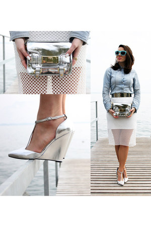 white Front Row Shop skirt - silver asos wedges