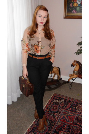 neutral new look blouse - dark brown Secondhand bag - brown Deichmann heels