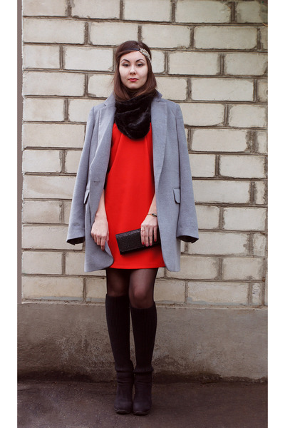 black stockings Stesso boots - red wool self-made dress