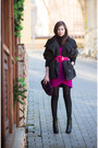 Black-faux-leather-centro-boots-hot-pink-fantosh-dress