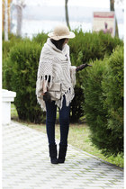 camel Zarina hat - beige knitted poncho Peacocks sweater