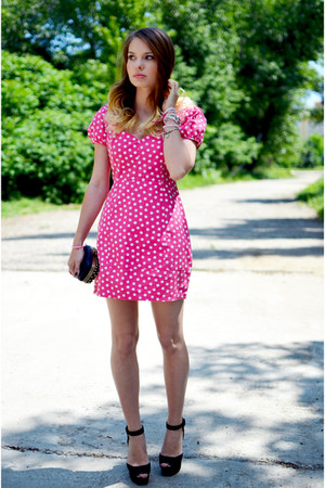 black meli melo bag - hot pink Tina R dress - black Zara sandals