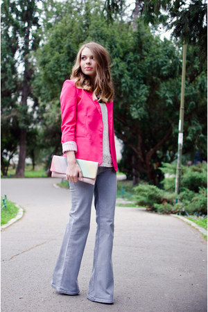 hot pink Romwecom blazer - bubble gum suiteblanco bag