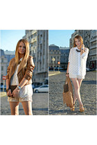 bronze Bershka jacket - ivory New Yorker shirt - brown vintage bag