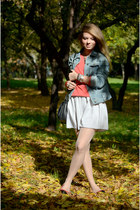 coral H&M sweater - sky blue H&M jacket - black Stradivarius flats