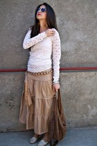 dark brown sunglasses - camel skirt