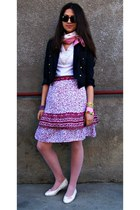 blue blazer - bubble gum skirt - light pink flats