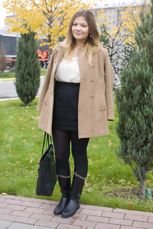 mustard Stradivarius coat - black Moschino boots - black Michael Kors bag