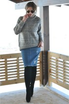 black over the knee boots - gray knitted COS sweater