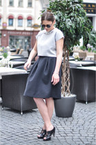 charcoal gray Zara top - black H&M skirt