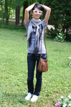American Apparel t-shirt - H&M scarf - forever 21 jeans - Converse shoes