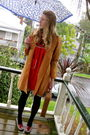 Yellow-secondhand-coat-red-secondhand-dress-red-secondhand-shoes-brown-sec