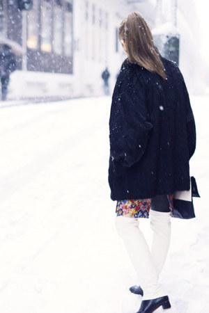 white thigh high Celine boots - black two tone Monki bag
