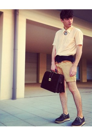 DIY shorts - navy wedges FILIPE SOUSA shoes - peach mesh vintage shirt