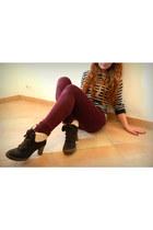 burgundy F de la passion jeans - brown Bata boots - cream new look blouse