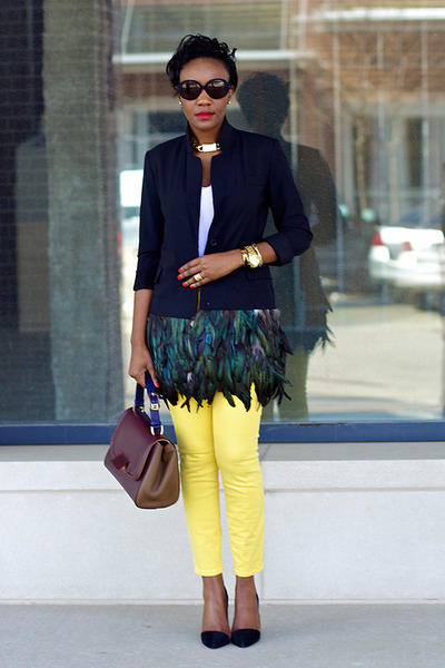 feather blazer Elizabeth James blazer - Current Elliot jeans - Fendi bag