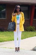 yellow BB Dakota jacket - dark gray Celine bag - white JCrew top