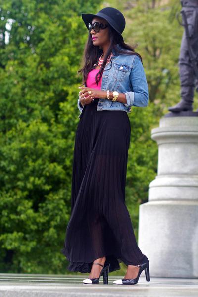 black asos skirt - black Rag and Bone hat - light blue H&M jacket
