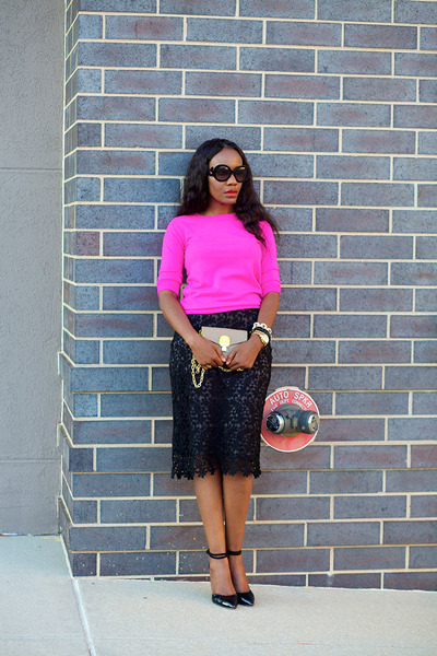 black bloomingdales skirt - hot pink JCrew sweater - tory burch bag