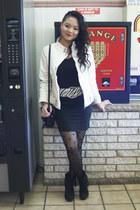 black cross Forever 21 tights - ivory Yan-te jacket - black liz claiborne purse