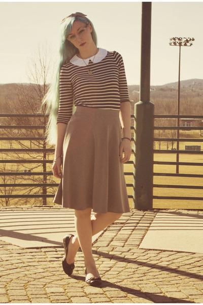 modcloth skirt - modcloth blouse - Payless flats