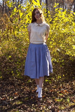 white Urban Outfitters blouse - blue Urban Outfitters skirt - dark brown thrifte