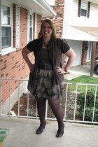 brown cardigan - dark brown top - green skirt