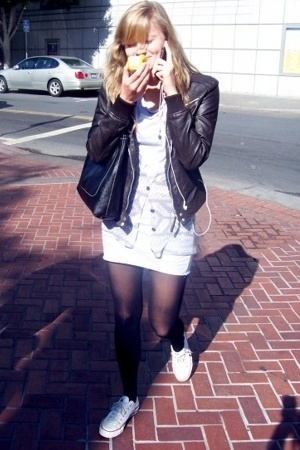 Zara jacket - American Apparel dress - Jeremeys in Berkeley