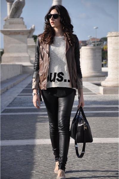 ivory Zara sweater - brown 31 Phillip Lim jacket - black Givenchy bag