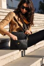 gold SANDRO jacket - black Prada bag - black dvf pants