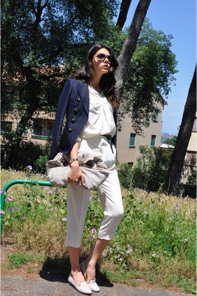 navy Max Mara jacket - ivory 31 Phillip Lim shirt - off white Zagliani bag
