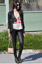 red Leon & Harper t-shirt - black Chloe boots - cream Celine bag