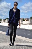 black Celine sunglasses - navy Louis Vuitton bag