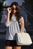 black Pierre Balmain skirt - white Prada bag - black Celine sunglasses
