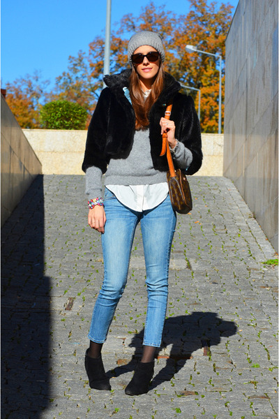 black Valentino coat - light blue denim Mango jeans - silver angora H&amp;M sweater