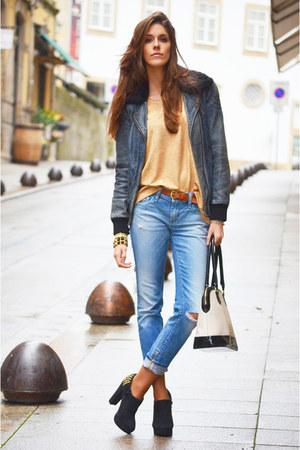sky blue denim Diesel jeans - black leather Pepe Jeans jacket