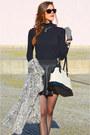 Heather-gray-faux-fur-primark-coat-black-leather-parker-skirt