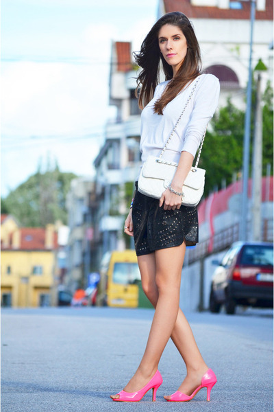 romwe heels - cotton Mango sweater - Chanel bag - romwe shorts