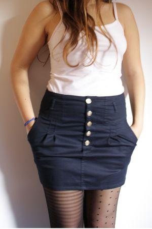 white top - blue Zara skirt - black H&M tights