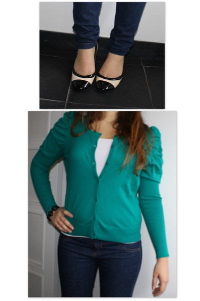 green Zara cardigan - blue Pimkie jeans - beige Zara shoes - green bracelet