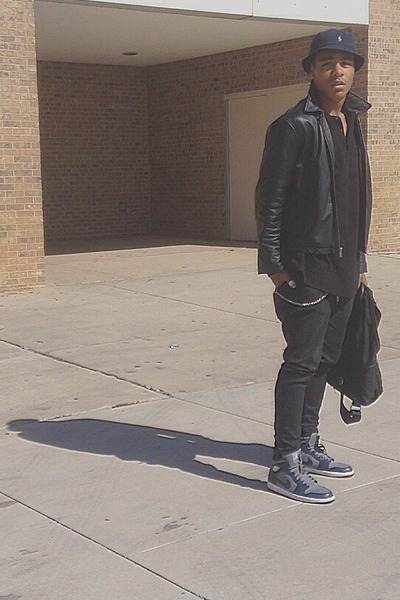 black leather jacket - dark gray Levis jeans - navy bucket hat Ralph Lauren hat