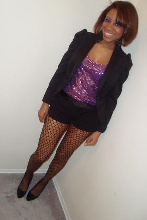 black Forever 21 stockings - black H&M shoes - purple free people blouse - black