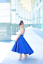 blue KTRcolection skirt - nude Christian Louboutin pumps