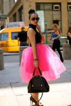 tulle tutu pink KTRcollection skirt - black leather Marc Jacobs bag
