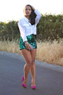 Diy-shorts-white-blouse-equipment-blouse-purple-pink-zara-pumps