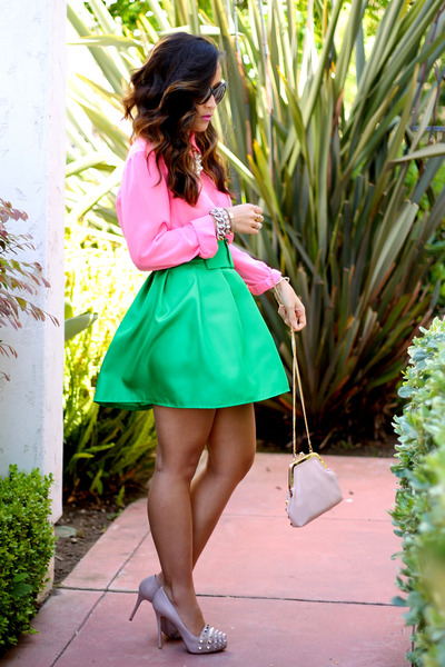 diy green skirt KTRcollection skirt - pink blouse Guess blouse - Valentino pumps