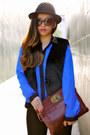 Black-fedora-h-m-hat-faux-fur-black-bcbgeneration-vest-joes-jeans-pants