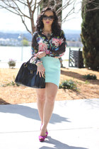 floral H&M blouse - H&M skirt - Zara pumps